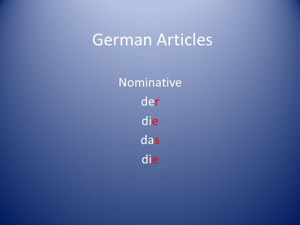 German Articles Nominative der die das