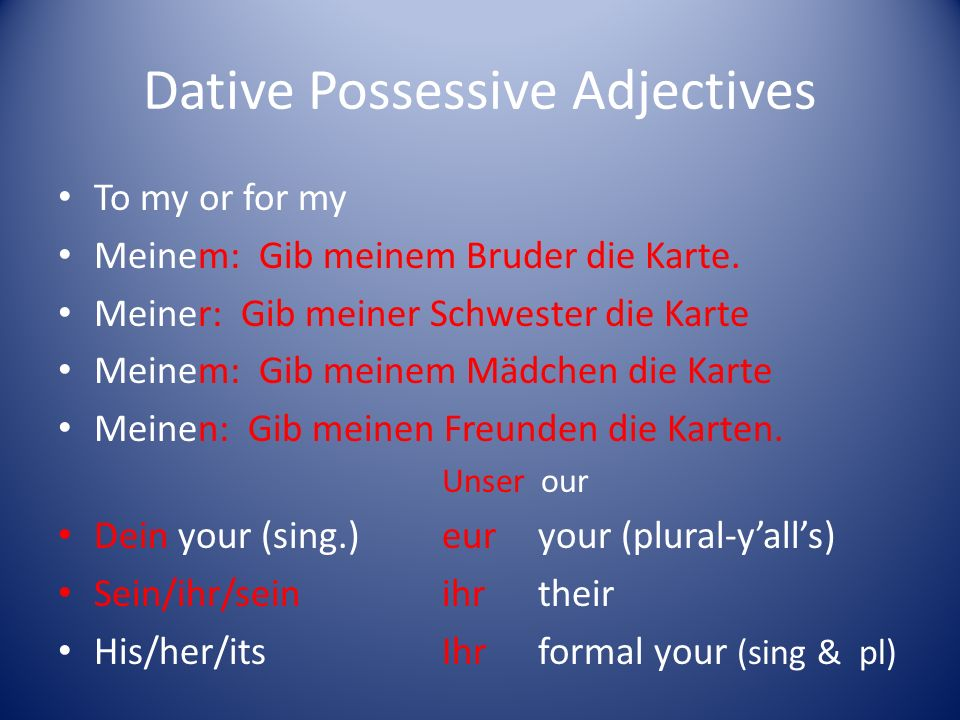 Dative Possessive Adjectives