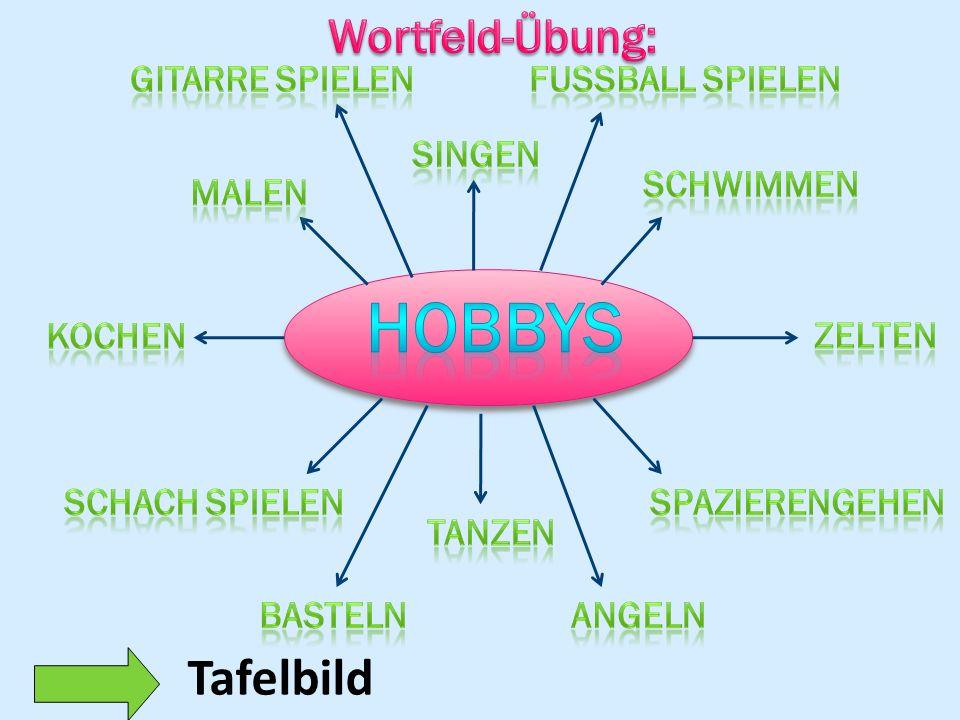 Hobbys Tafelbild Wortfeld-Übung: Gitarre spIelen Fussball SpIelen