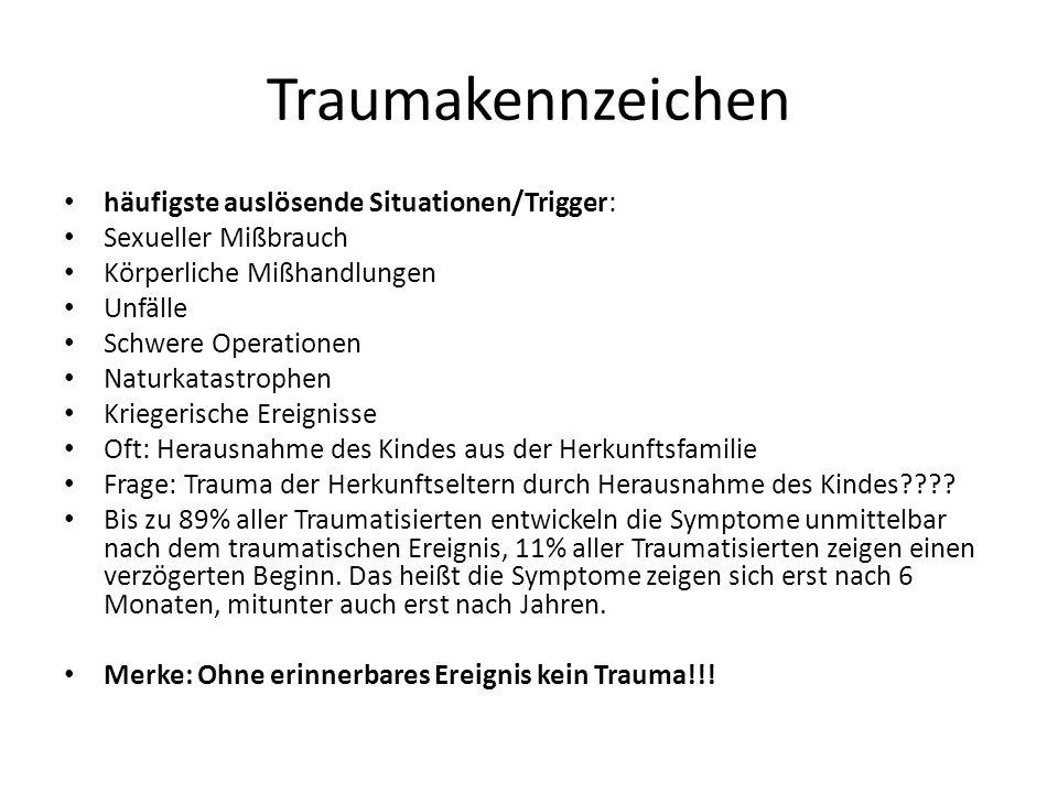Traumakennzeichen häufigste auslösende Situationen/Trigger: