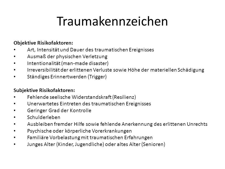 Traumakennzeichen Objektive Risikofaktoren: