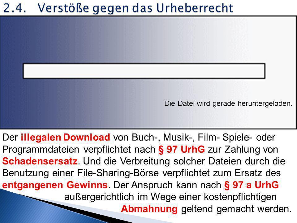 2.4. Verstöße gegen das Urheberrecht