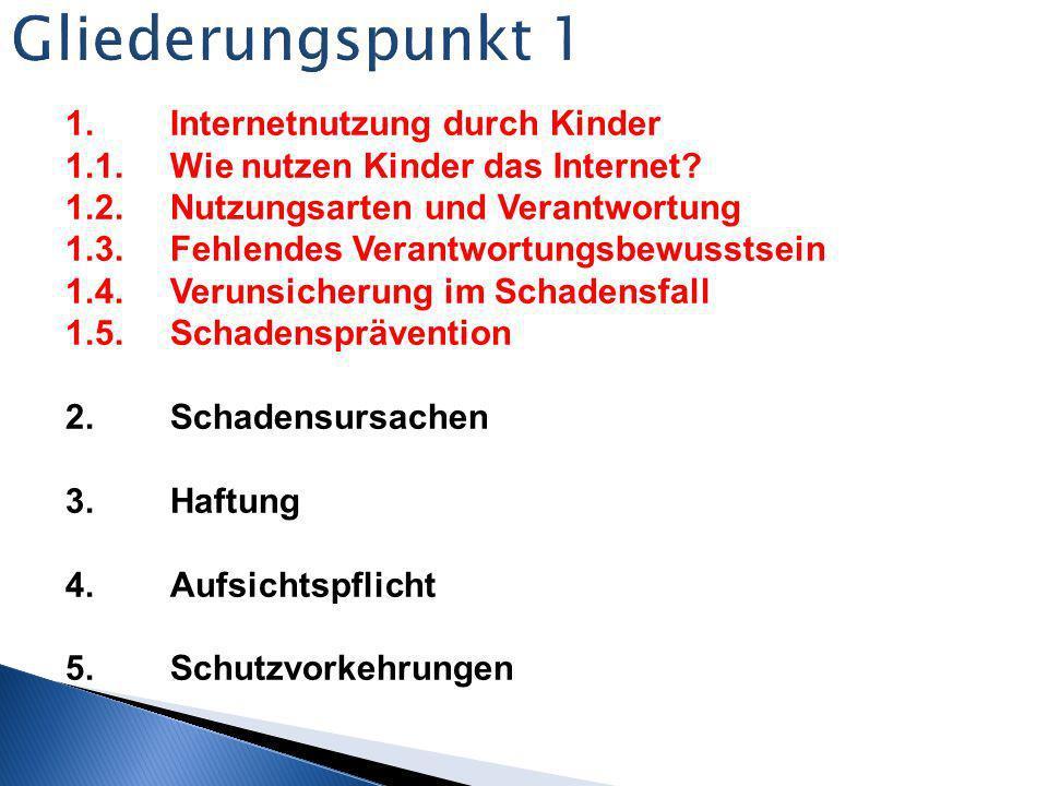 Gliederungspunkt 1 1. Internetnutzung durch Kinder
