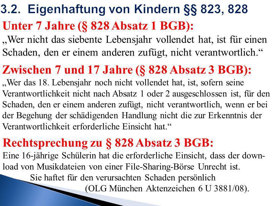 3.2. Eigenhaftung von Kindern §§ 823, 828