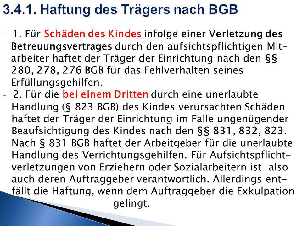 3.4.1. Haftung des Trägers nach BGB
