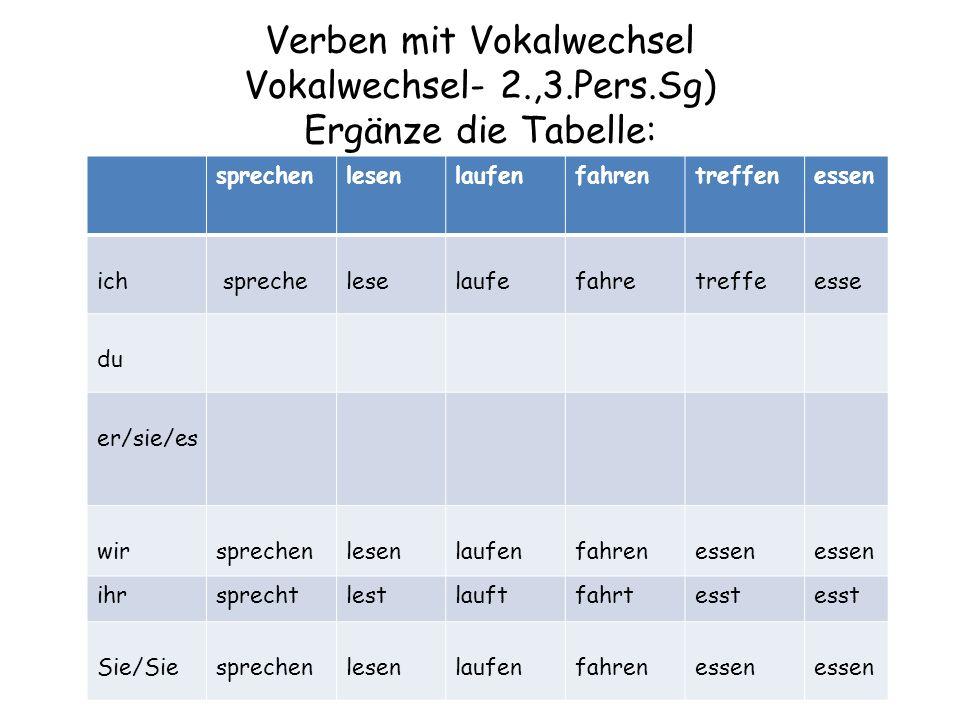 Verben mit Vokalwechsel Vokalwechsel- 2. ,3. Pers