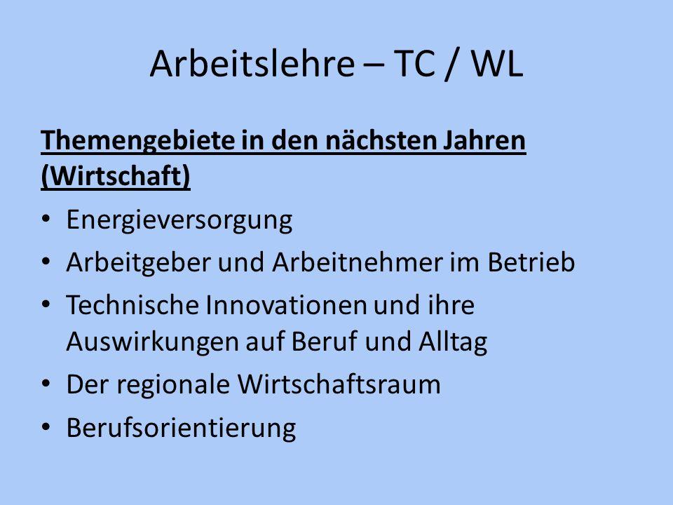 Arbeitslehre – TC / WL Themengebiete in den nächsten Jahren (Wirtschaft) Energieversorgung. Arbeitgeber und Arbeitnehmer im Betrieb.