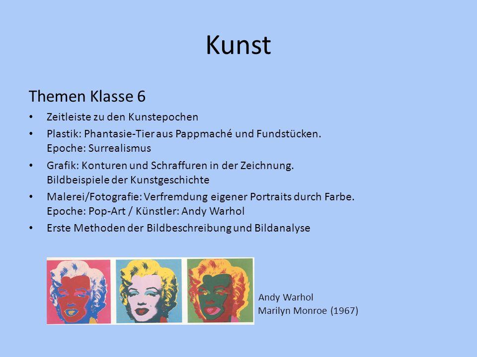 Kunst Themen Klasse 6 Andy Warhol Marilyn Monroe (1967)
