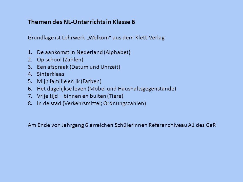Themen des NL-Unterrichts in Klasse 6