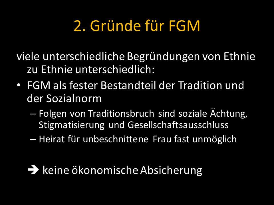 2. Gründe für FGM viele unterschiedliche Begründungen von Ethnie zu Ethnie unterschiedlich: