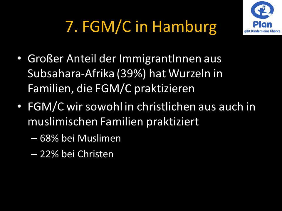 7. FGM/C in Hamburg Großer Anteil der ImmigrantInnen aus Subsahara-Afrika (39%) hat Wurzeln in Familien, die FGM/C praktizieren.