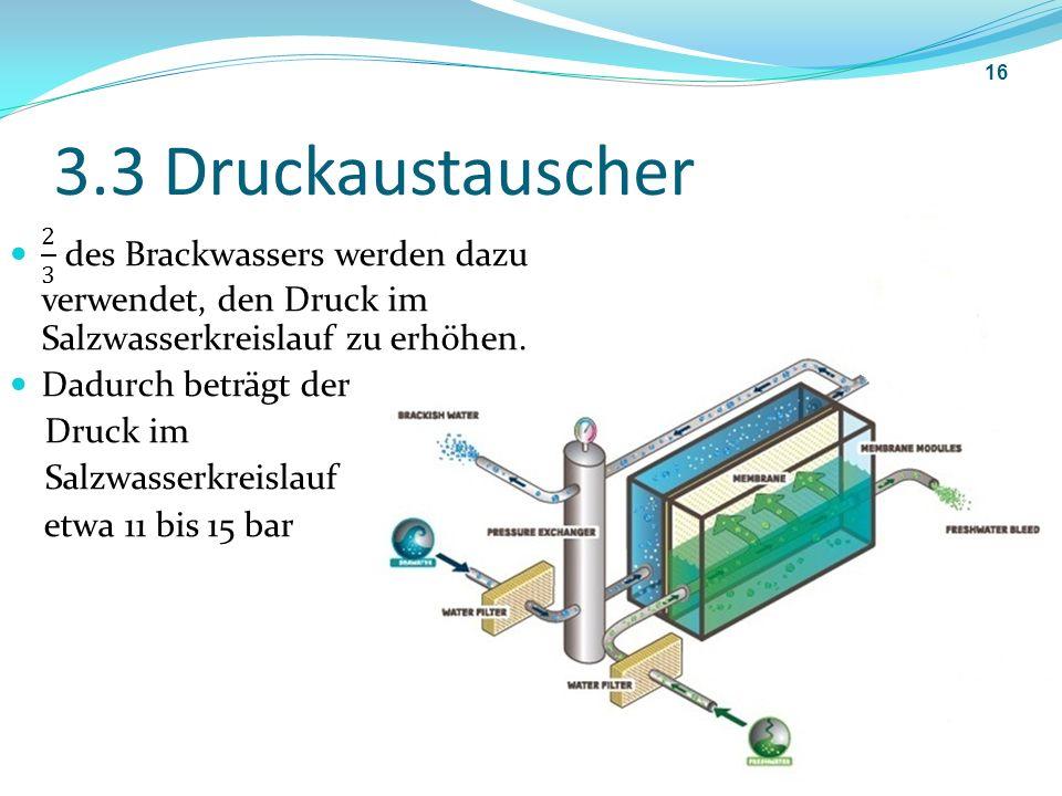 3.3 Druckaustauscher 2 3 des Brackwassers werden dazu verwendet, den Druck im Salzwasserkreislauf zu erhöhen.