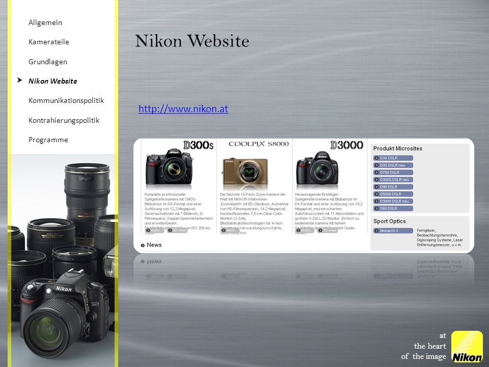 Nikon Website http://www.nikon.at at the heart of the image Allgemein