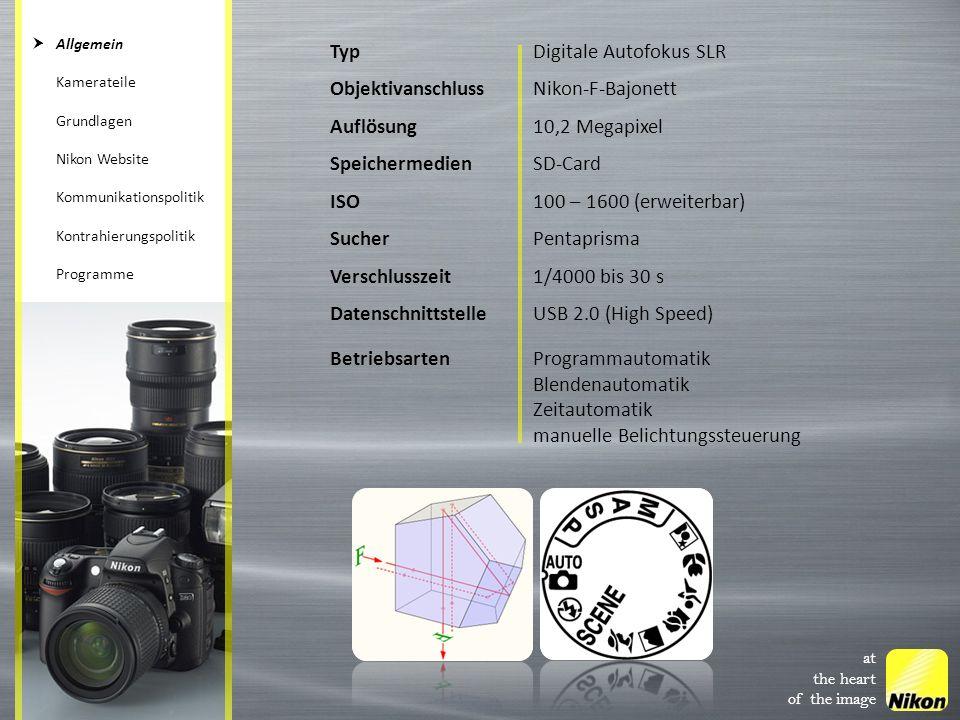 Digitale Autofokus SLR Objektivanschluss Nikon-F-Bajonett Auflösung