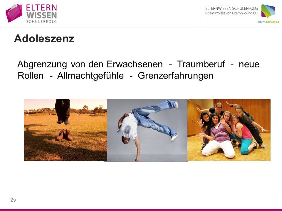 Adoleszenz Abgrenzung von den Erwachsenen - Traumberuf - neue Rollen - Allmachtgefühle - Grenzerfahrungen.