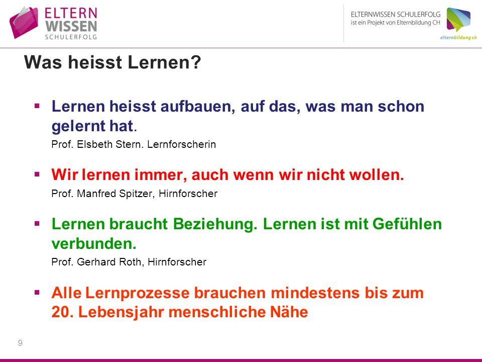 Was heisst Lernen Lernen heisst aufbauen, auf das, was man schon gelernt hat. Prof. Elsbeth Stern. Lernforscherin.