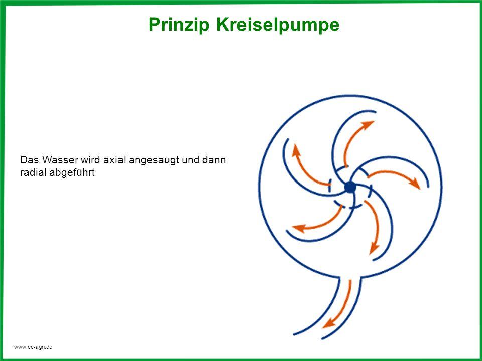 Prinzip Kreiselpumpe Das Wasser wird axial angesaugt und dann radial abgeführt