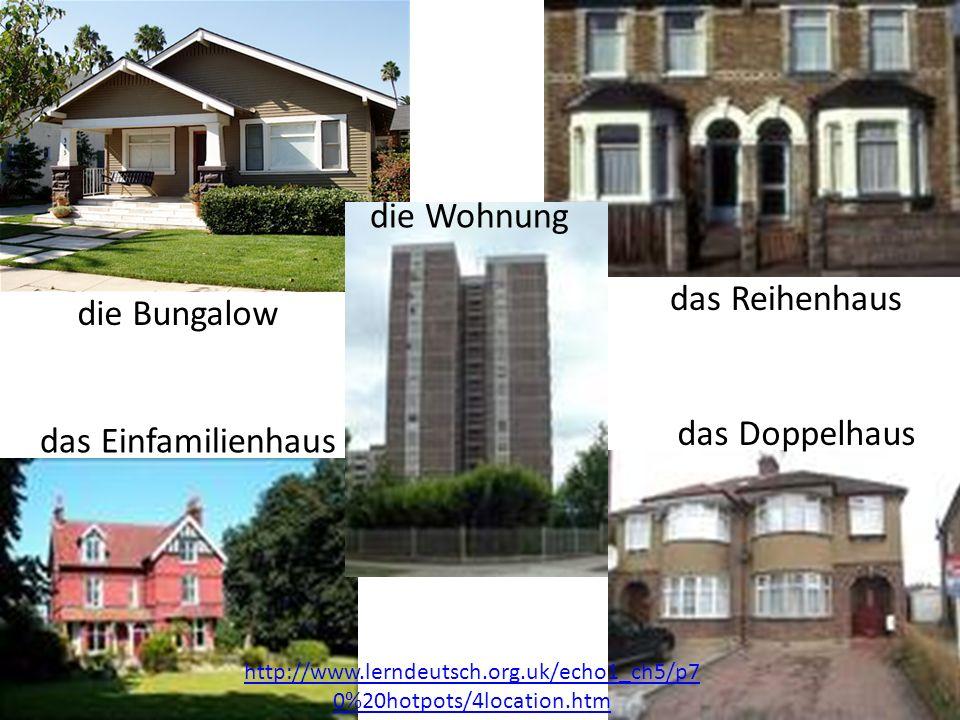 die Wohnung das Reihenhaus die Bungalow das Doppelhaus