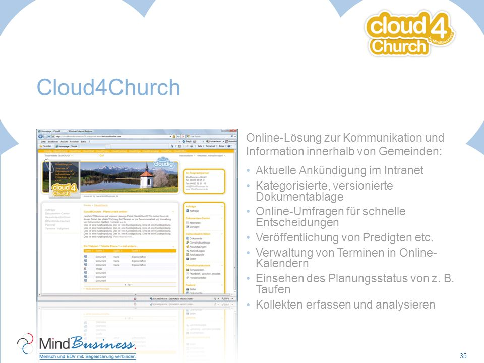 Cloud4Church Online-Lösung zur Kommunikation und Information innerhalb von Gemeinden: Aktuelle Ankündigung im Intranet.