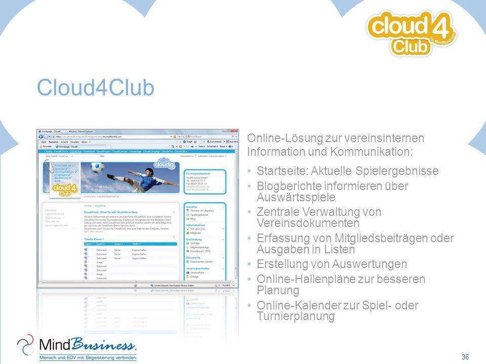 Cloud4Club Online-Lösung zur vereinsinternen Information und Kommunikation: Startseite: Aktuelle Spielergebnisse.