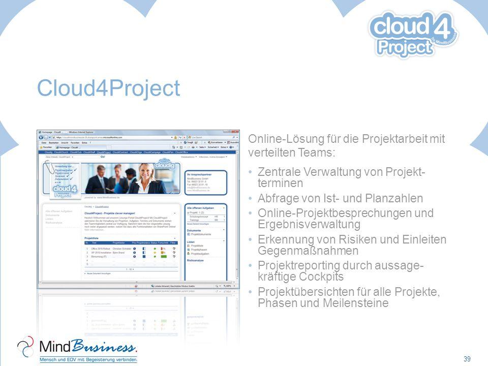 Cloud4Project Online-Lösung für die Projektarbeit mit verteilten Teams: Zentrale Verwaltung von Projekt- terminen.
