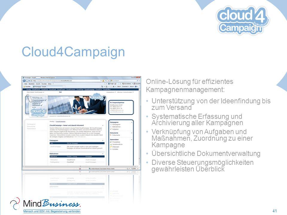 Cloud4Campaign Online-Lösung für effizientes Kampagnenmanagement: