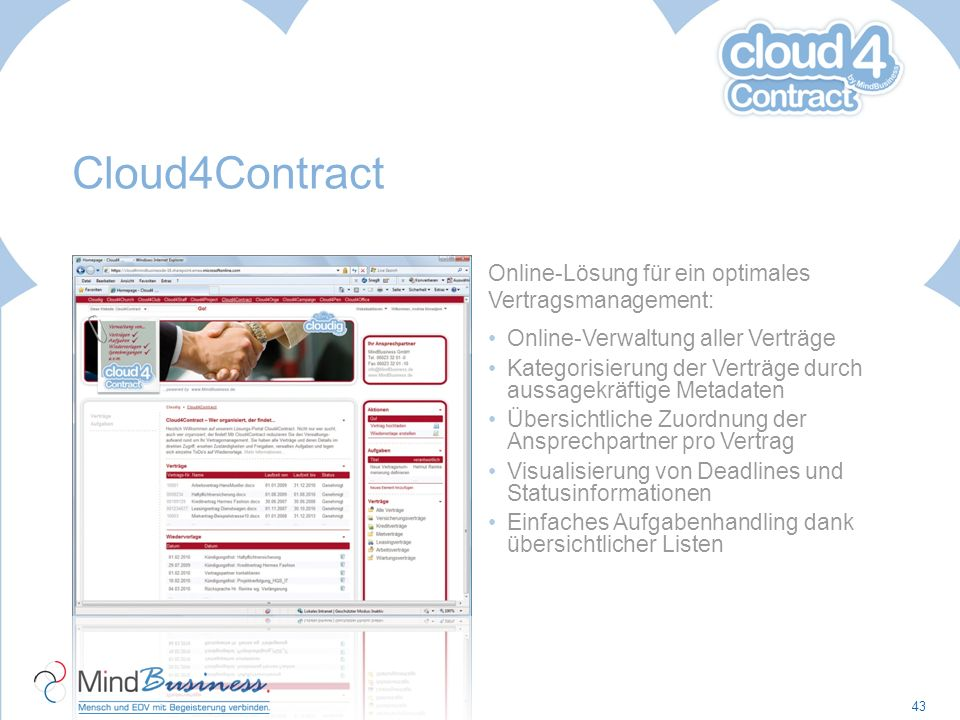 Cloud4Contract Online-Lösung für ein optimales Vertragsmanagement: