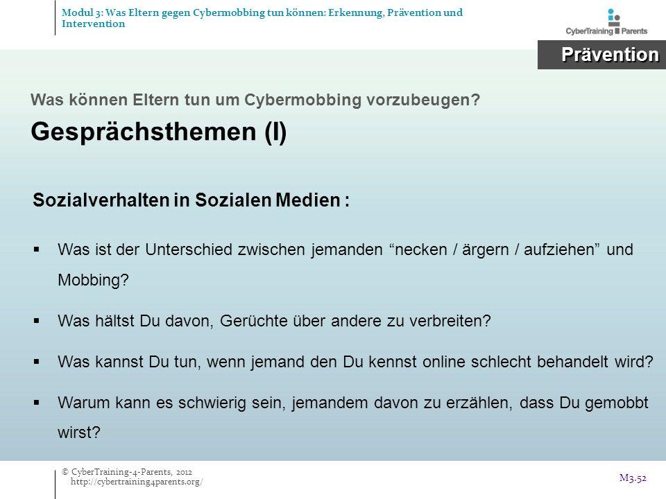 Gesprächsthemen (I) Prävention Sozialverhalten in Sozialen Medien :