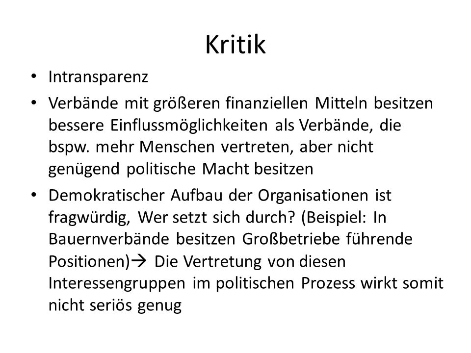 Kritik Intransparenz.