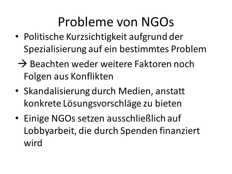 Probleme von NGOs Politische Kurzsichtigkeit aufgrund der Spezialisierung auf ein bestimmtes Problem.