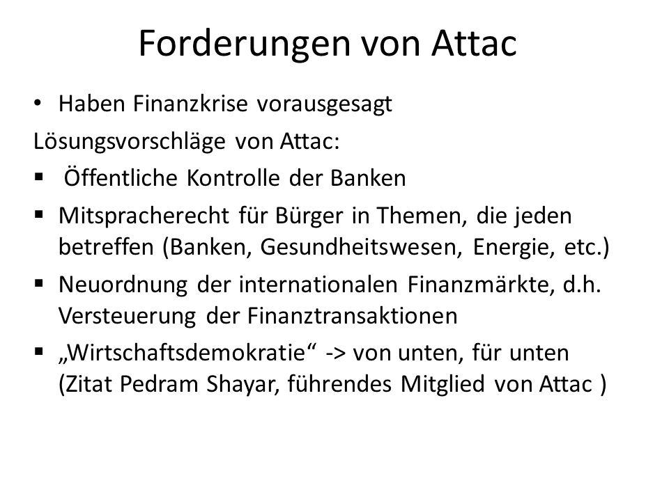 Forderungen von Attac Haben Finanzkrise vorausgesagt