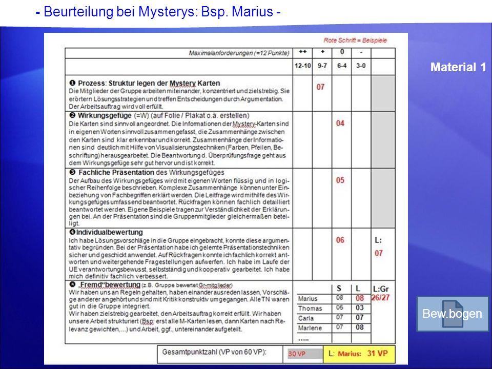- Beurteilung bei Mysterys: Bsp. Marius -