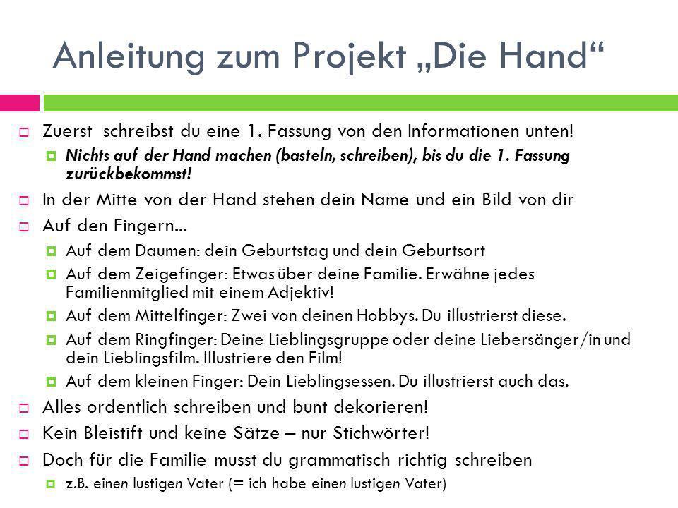 """Anleitung zum Projekt """"Die Hand"""