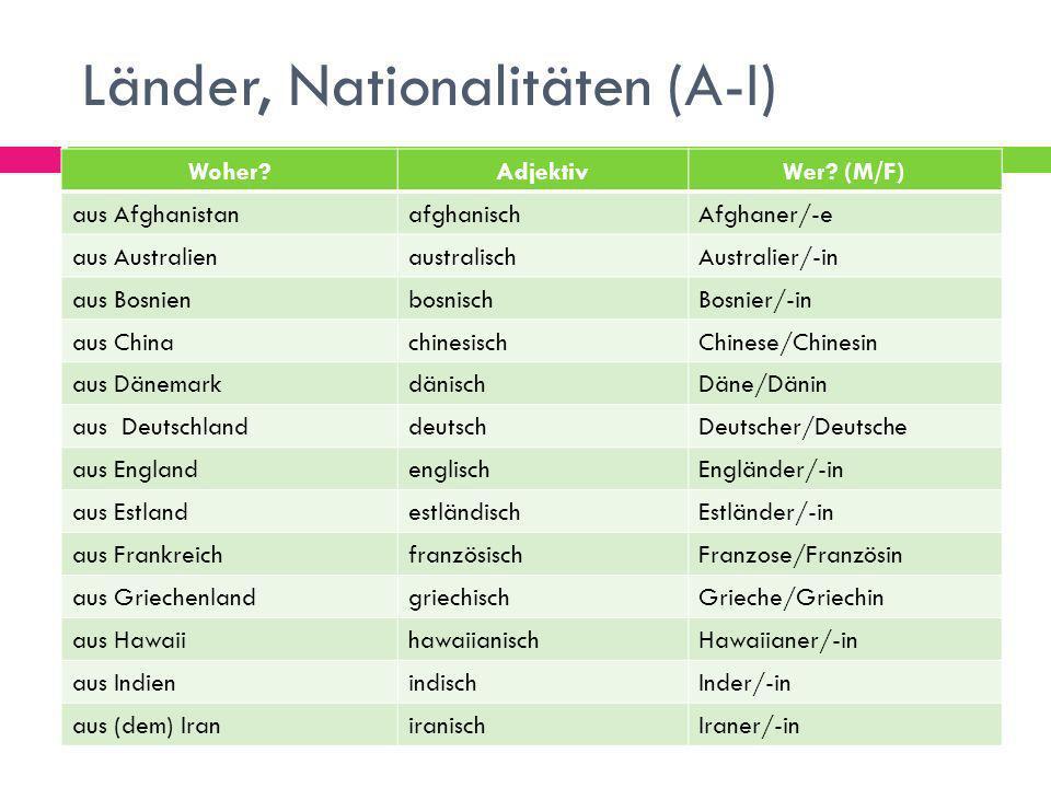 Länder, Nationalitäten (A-I)
