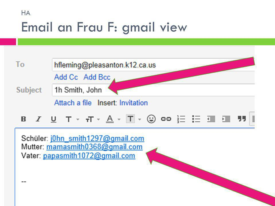 HA  an Frau F: gmail view