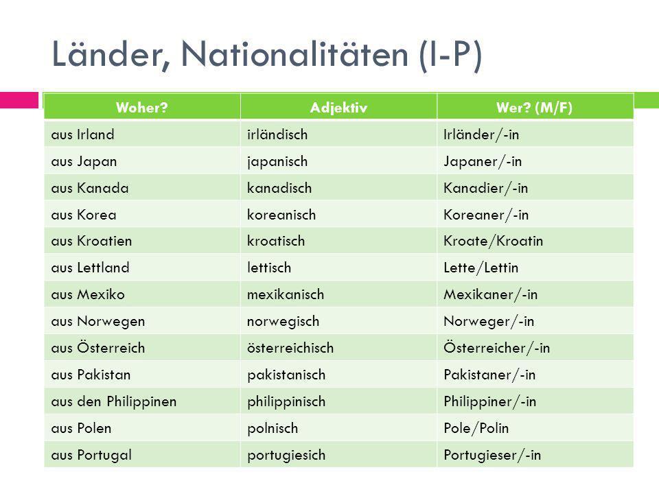Länder, Nationalitäten (I-P)