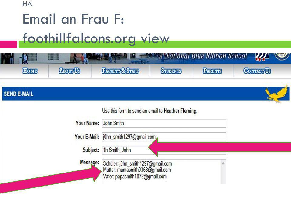 HA Email an Frau F: foothillfalcons.org view
