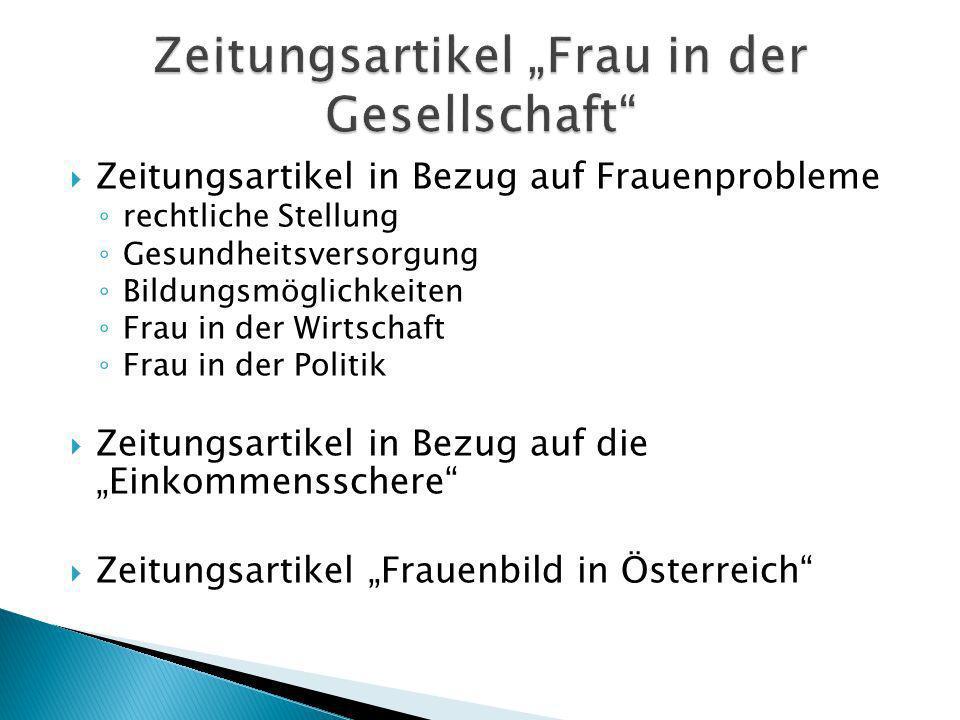 """Zeitungsartikel """"Frau in der Gesellschaft"""