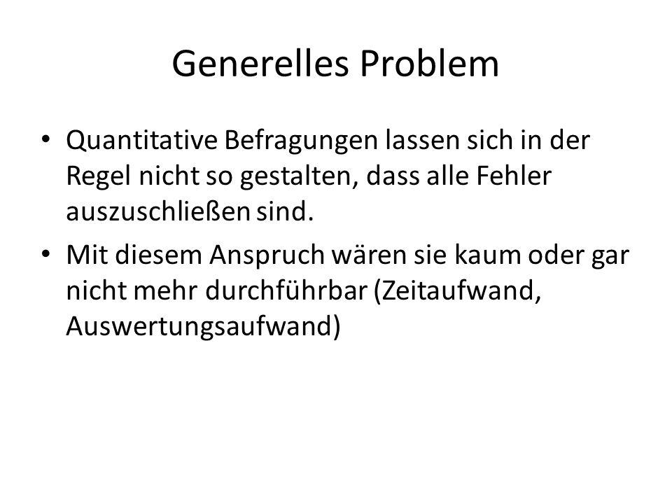 Generelles Problem Quantitative Befragungen lassen sich in der Regel nicht so gestalten, dass alle Fehler auszuschließen sind.