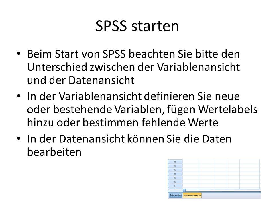 SPSS startenBeim Start von SPSS beachten Sie bitte den Unterschied zwischen der Variablenansicht und der Datenansicht.
