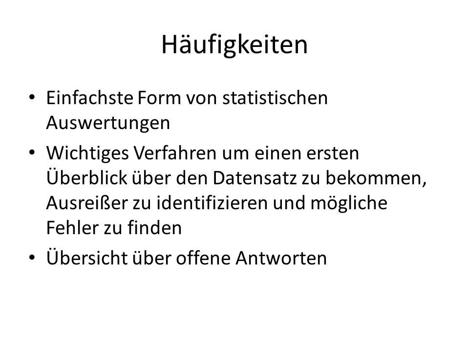 Häufigkeiten Einfachste Form von statistischen Auswertungen