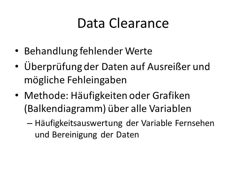 Data Clearance Behandlung fehlender Werte