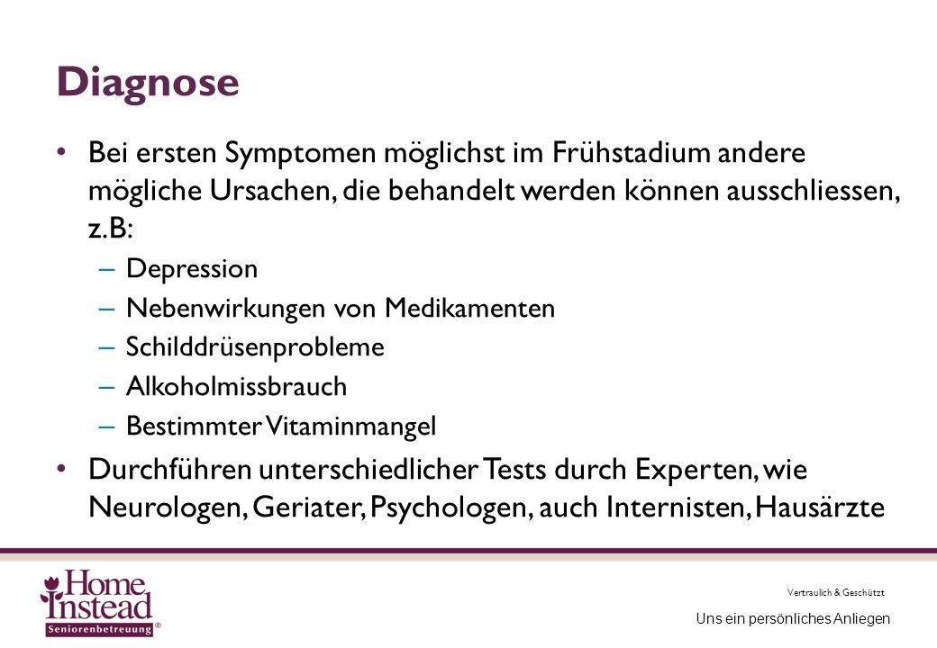 Diagnose Bei ersten Symptomen möglichst im Frühstadium andere mögliche Ursachen, die behandelt werden können ausschliessen, z.B: