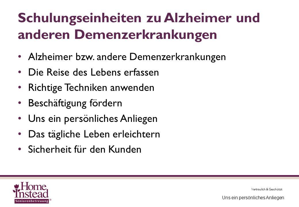 Schulungseinheiten zu Alzheimer und anderen Demenzerkrankungen