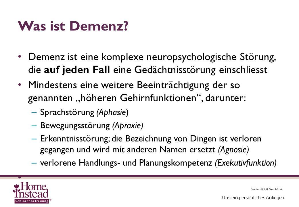 Was ist Demenz Demenz ist eine komplexe neuropsychologische Störung, die auf jeden Fall eine Gedächtnisstörung einschliesst.