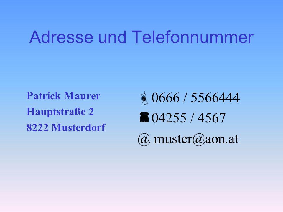 Adresse und Telefonnummer