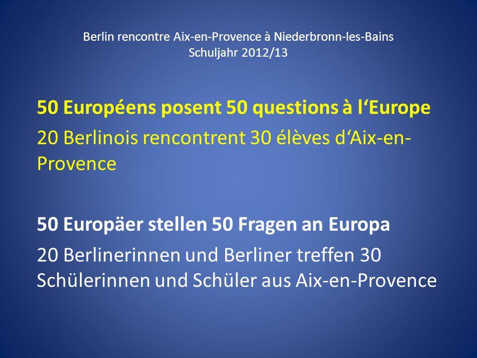 50 Européens posent 50 questions à l'Europe