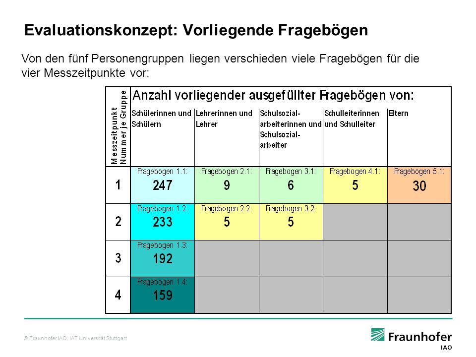 Evaluationskonzept: Vorliegende Fragebögen