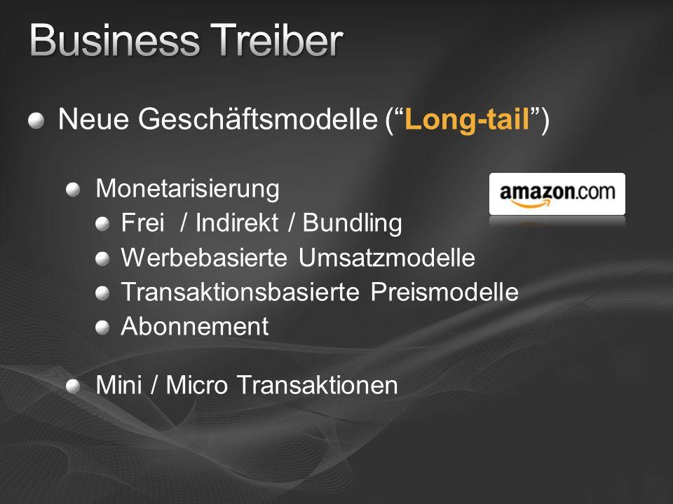 Business Treiber Neue Geschäftsmodelle ( Long-tail ) Monetarisierung