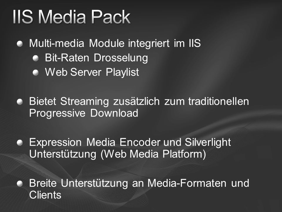 IIS Media Pack Multi-media Module integriert im IIS
